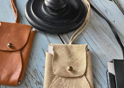 Handmade leather clutches in Bedford, Virginia
