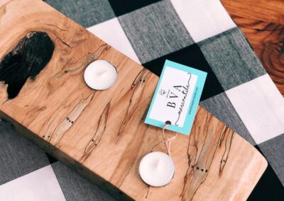 Rustic wooden candle holder by BVA Mercantile